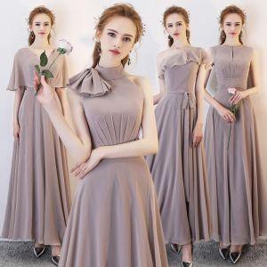 Affordable Brown Chiffon Bridesmaid Dresses 2019 A-Line / Princess Sash Floor-Length / Long Ruffle Wedding Party Dresses
