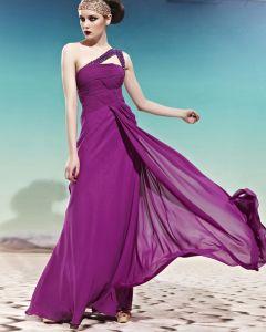 Trägerloses One Shoulder Dekoriert Sleeveless rückenfrei Bodenlange Charmeuse Frau Abendkleid
