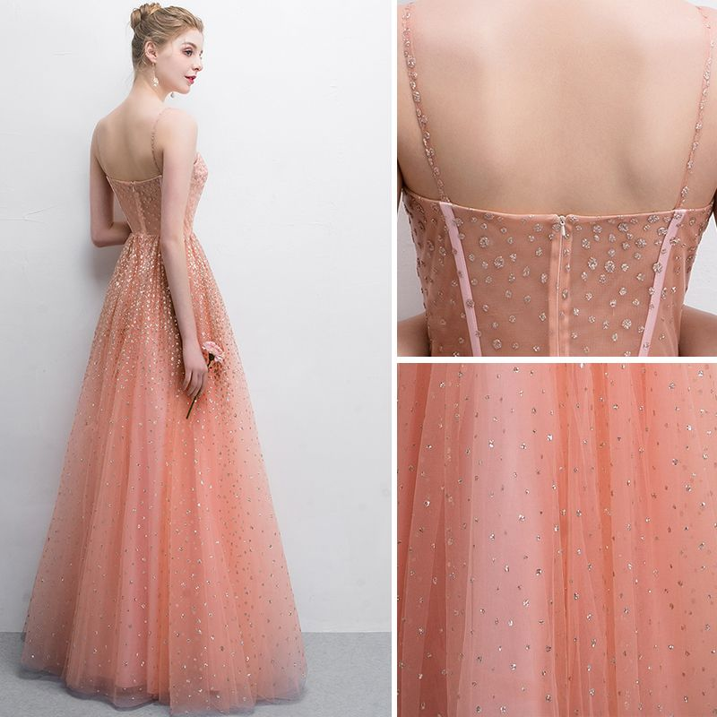 Chic / Belle Orange Robe De Bal 2018 Princesse Paillettes Bretelles Spaghetti Dos Nu Sans Manches Longue Robe De Ceremonie