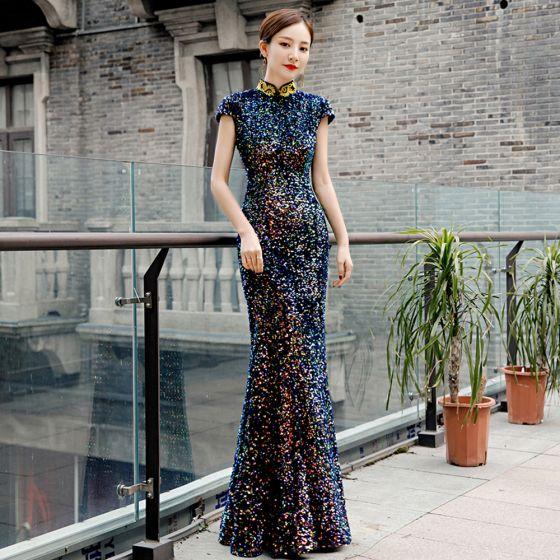 Glitzernden Multifarben Pailletten Cheongsam 2020 Meerjungfrau Stehkragen Applikationen Stickerei Ärmellos Lange Festliche Kleider