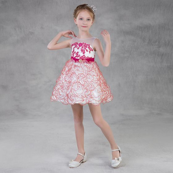 Modern / Fashion Candy Pink Organza Summer Flower Girl Dresses 2018 A-Line / Princess See-through Scoop Neck Sleeveless Appliques Lace Sash Short Cascading Ruffles Backless Wedding Party Dresses