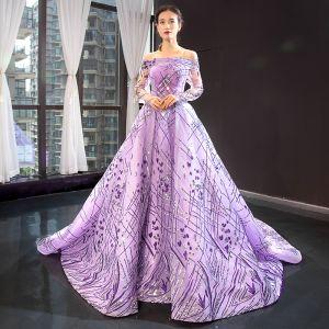 Wysokiej Klasy Liliowy Przezroczyste Sukienki Wieczorowe 2020 Princessa Przy Ramieniu Długie Rękawy Cekiny Trenem Sąd Wzburzyć Bez Pleców Sukienki Wizytowe