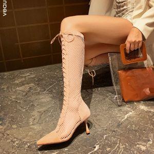 Sexy Rødmende Rosa Gateklær Boret Kvinners støvler 2021 Midten Kalv 7 cm Stiletthæler Spisse Boots
