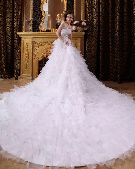 Fashionabla Lang Rufsar Katedralen Imperium Bröllopsklänningar Brudklänning