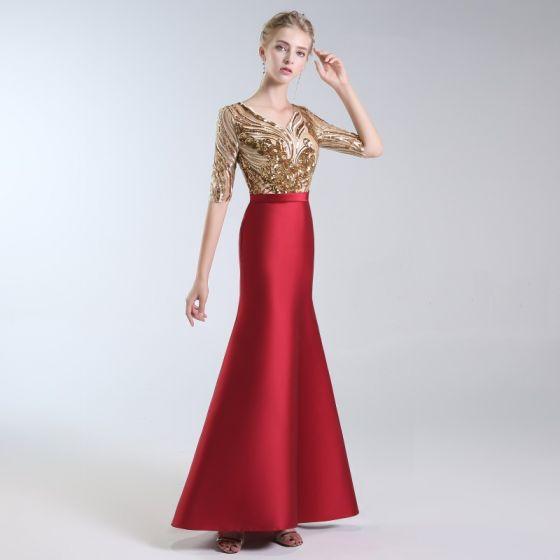 7af54661c1 Luksusowe Burgund Sukienki Wieczorowe 2019 Syrena   Rozkloszowane V-Szyja Z  Koronki Cekiny 1 2 Rękawy Bez Pleców Długie Sukienki Wizytowe