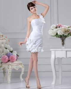 One Shoulder Pleated Beading Mini Length Satin Mini Wedding Dress