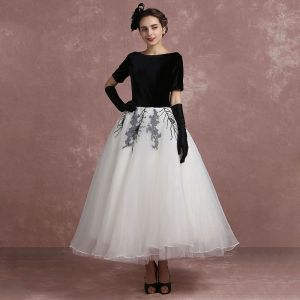 Vintage Black White Prom Dresses 2018 Ball Gown Square Neckline Short Sleeve Sequins Ankle Length Backless Formal Dresses