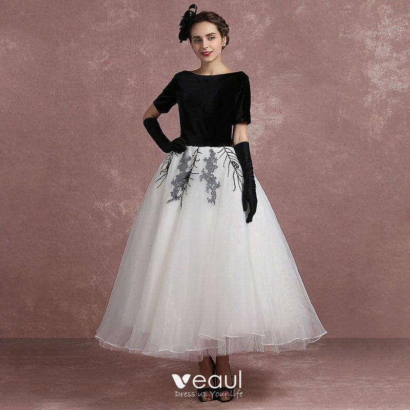 Vintage Black White Prom Dresses 2018 Ball Gown Square Neckline
