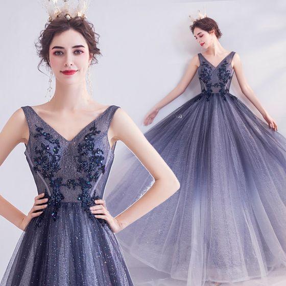 Charmant Bleu Marine Robe De Soirée 2020 Princesse V-Cou Glitter Perlage Paillettes En Dentelle Fleur Sans Manches Dos Nu Longue Robe De Ceremonie