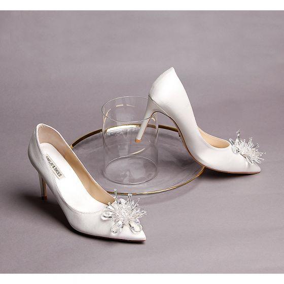 Chic / Belle Ivoire Chaussure De Mariée 2019 Cuir Cristal 9 cm Talons Aiguilles À Bout Pointu Mariage Escarpins