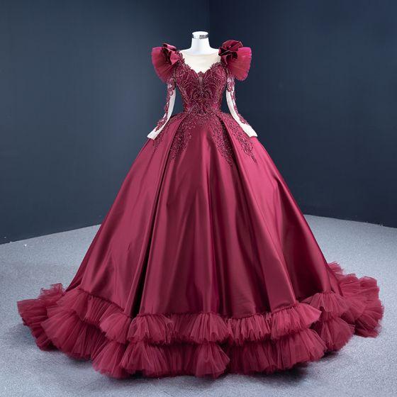 Luksusowe Burgund Satyna Taniec Sukienki Na Bal 2021 Suknia Balowa Przezroczyste Wycięciem Długie Rękawy Wykonany Ręcznie Frezowanie Cekiny Trenem Sweep Wzburzyć Sukienki Wizytowe