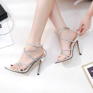 Sexy Argenté Désinvolte Tresser Sandales Femme 2020 12 cm Talons Aiguilles Peep Toes / Bout Ouvert Sandales