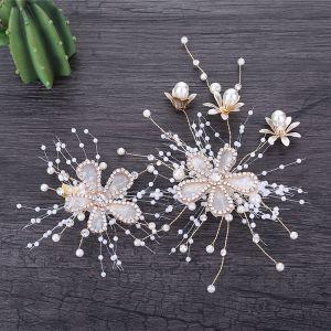 Chic / Beautiful Gold Bridal Hair Accessories 2019 Metal Headpieces Flower Rhinestone Pearl Accessories
