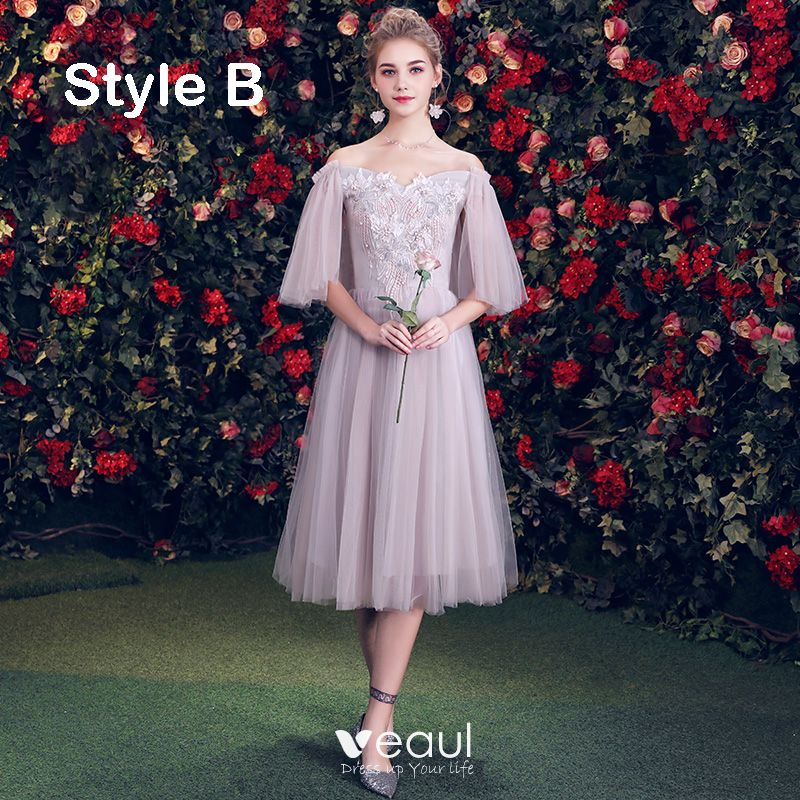 Elegant Grey Bridesmaid Dresses 2019 A-Line / Princess