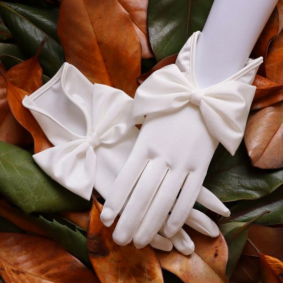 Proste / Simple Białe Rękawiczki Ślubne 2020 Satyna Bal Ślub Akcesoria