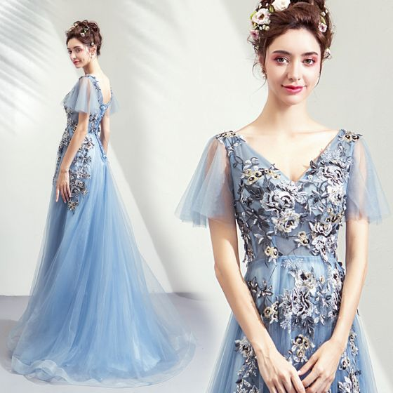 Elegant Sky Blue Prom Dresses 2019 A-Line / Princess V-Neck Appliques Lace Crystal Sequins Short Sleeve Backless Floor-Length / Long Formal Dresses