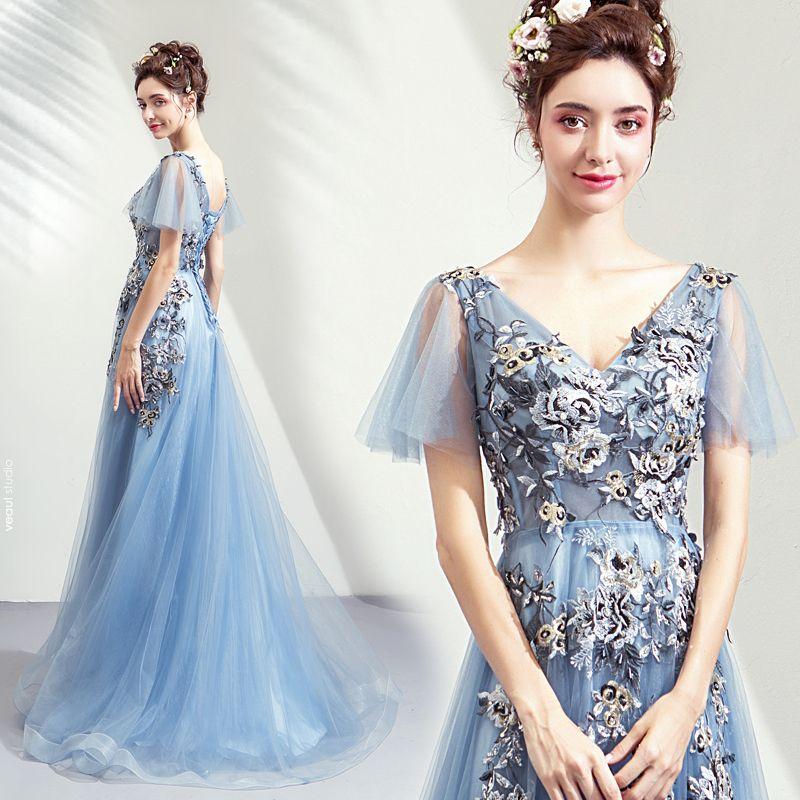 Elegant Sky Blue Prom Dresses 2019 A-Line / Princess V-Neck Appliques Lace Crystal Sequins Short Sleeve Backless Floor-Length / Long Formal Dresses