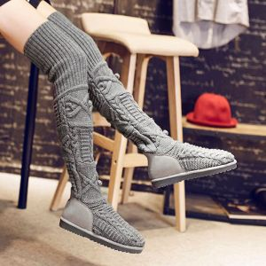 Modern / Fashion Snow Boots 2017 Grey Woolen Over The Knee / Thigh High Casual Winter Flat Womens Boots