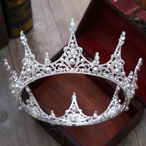 Modest / Simple Silver Tiara 2018 Metal Pearl Rhinestone Accessories