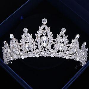 Luxury / Gorgeous Silver Wedding Tiara 2018 Metal Crystal Rhinestone Accessories