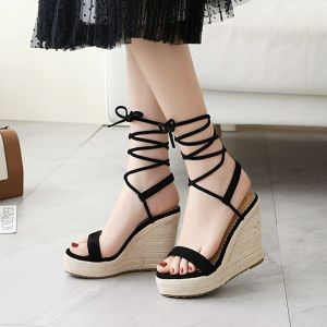 Chic / Beautiful Black Casual Braid Womens Sandals 2020 Ankle Strap 11 cm Wedges Platform Open / Peep Toe Sandals
