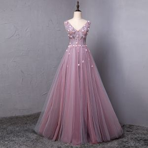 Elegant Blushing Pink Prom Dresses 2018 A-Line / Princess Appliques Crystal Pearl V-Neck Backless Sleeveless Floor-Length / Long Formal Dresses