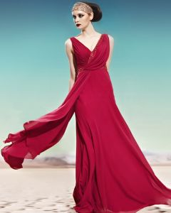 V Cou Perles Ruffle Glissiere Laterale Manches Etage Longueur Empire Charmeuse Robe De Soirée Dos Nu Femme