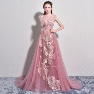 Chic / Beautiful Candy Pink Evening Dresses  2017 A-Line / Princess Tulle U-Neck Feather Embroidered Backless Evening Party Formal Dresses