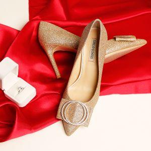 Scintillantes Doré Chaussure De Mariée 2019 Cuir Faux Diamant Paillettes 9 cm Talons Aiguilles À Bout Pointu Mariage Escarpins