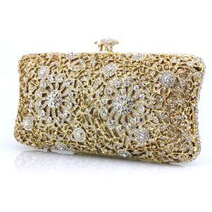 Luxus / Herrlich Gold Clutch Tasche Perlenstickerei Durchbohrt Strass Metall Hochzeit Abend Brautaccessoires 2019