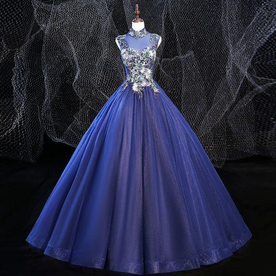 Vintage Königliches Blau Ballkleider 2020 Ballkleid Stehkragen Perlenstickerei Strass Spitze Blumen Ärmellos Rückenfreies Lange Festliche Kleider