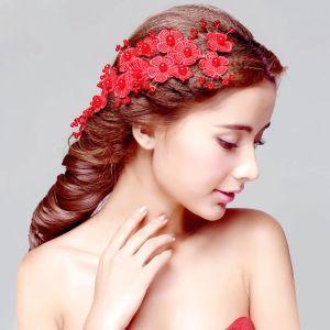 Rode Bruids Hoofdtooi / Head Bloem / Bruiloft Haar Accessoires / Cheongsam Jurk Accessoires / Bruiloft Sieraden