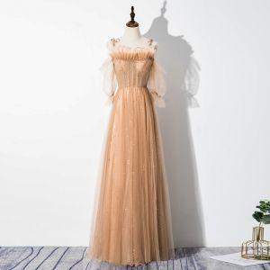 Charmant Kaki Robe De Soirée 2020 Princesse Volants Bretelles Spaghetti Perlage Paillettes 1/2 Manches Dos Nu Longue Robe De Ceremonie