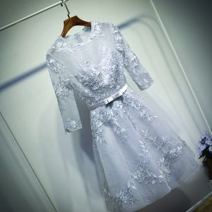 Amazing / Unique Silver Formal Dresses Graduation Dresses 2017 Lace Flower Bow Scoop Neck 1/2 Sleeves Short A-Line / Princess