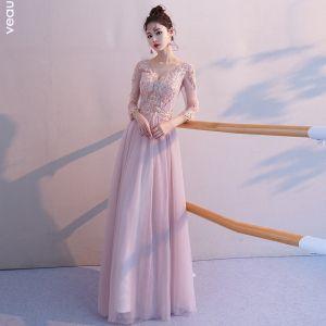 Eleganta Rodnande Rosa Genomskinliga Aftonklänningar 2019 Prinsessa V-Hals 3/4 ärm Appliqués Spets Beading Långa Ruffle Halterneck Formella Klänningar