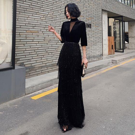 Vintage Schwarz Durchsichtige Abendkleider 2020 Etui Stehkragen 3/4 Ärmel Pailletten Quaste Lange Festliche Kleider