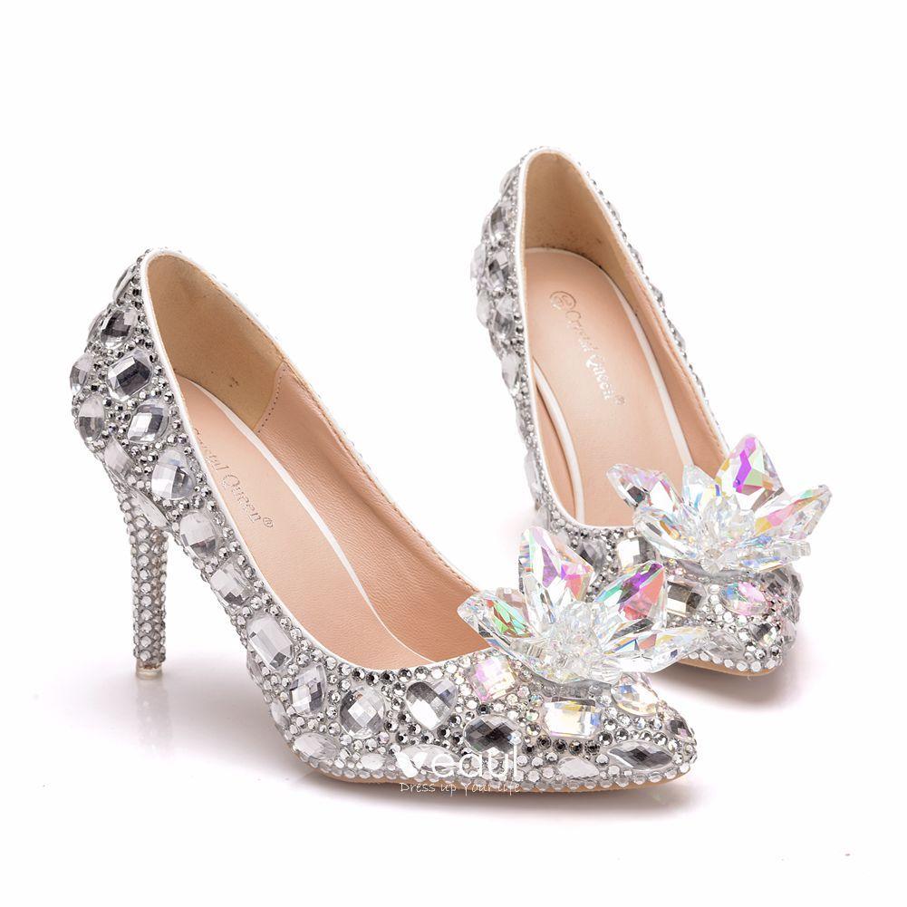 Charming Multi-Colors Cinderella Crystal Wedding Shoes 2019 Rhinestone 9 cm Stiletto Heels Pointed Toe Wedding Pumps