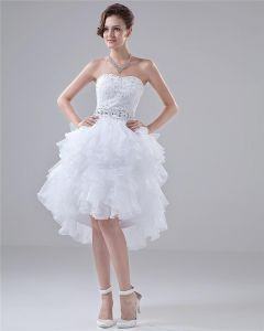Sweetheart Layer Upon Layer Knee High Beading Mini Wedding Dress
