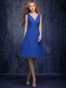 A-line Deep V-neck Ruffle Royal Blue Bridesmaids Dress