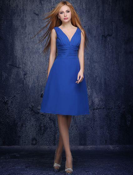 A-line Deep V-neck Ruffle Royal Blue Bridesmaids Dress