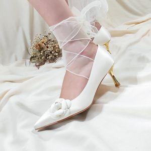 Elegant Ivory Satin Flower Wedding Shoes 2020 Leather 7 cm Stiletto Heels Pointed Toe Wedding Pumps