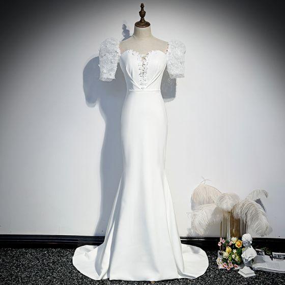 Vintage / Retro White Evening Dresses  2020 Trumpet / Mermaid Square Neckline Puffy Short Sleeve Sash Appliques Lace Court Train Ruffle Backless Formal Dresses
