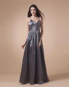 Sweetheart Neck Cross Belt Ruffle Sleeveless Floor Length Zipper Taffeta Woman Evening Party Dresses