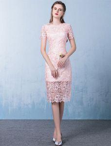 Elegantes Rosa Cocktailkleid Kurzschluss Hülsenspitze Festliche Kleid 2017
