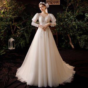 Champagne Trädgård / Utomhus Lätt Bröllopsklänningar 2020 Prinsessa V-Hals Pösigt Långärmad Halterneck Paljetter Beading Svep Tåg Ruffle