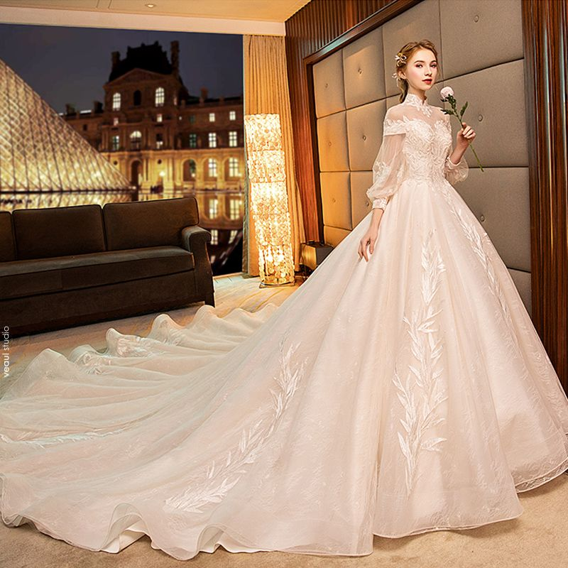 Charming Champagne Wedding Dresses 2019 Ball Gown High Neck Beading Crystal Lace Flower Long Sleeve Backless Royal Train