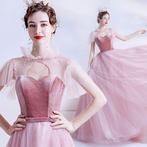 Mode Candy Roze Doorzichtige Galajurken 2020 A lijn Hoge Kraag Korte Mouwen Gordel Kralen Glans Tule Sweep Trein Ruche Ruglooze Gelegenheid Jurken