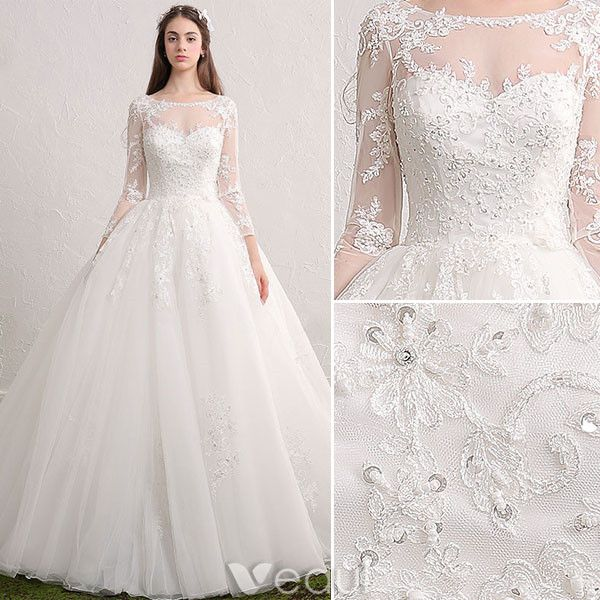 Princess bridal gown 2017 scoop neckline sequin applique lace ruffle tulle wedding dress with long sleeves