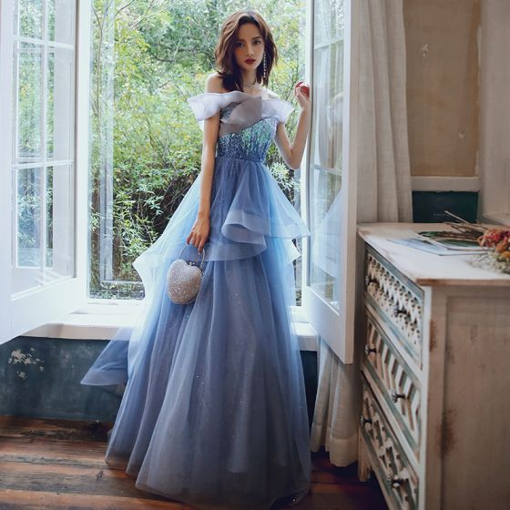 Eleganta Ocean Blå Aftonklänningar 2020 Prinsessa Av Axeln Korta ärm Paljetter Glittriga / Glitter Ruffle Långa Halterneck Formella Klänningar