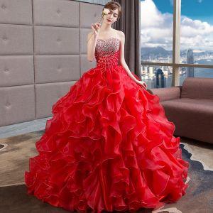 Luxe Rode Trouwjurken 2018 Baljurk Kralen Kristal Pailletten Geliefde Mouwloos Ruglooze Royal Train Huwelijk